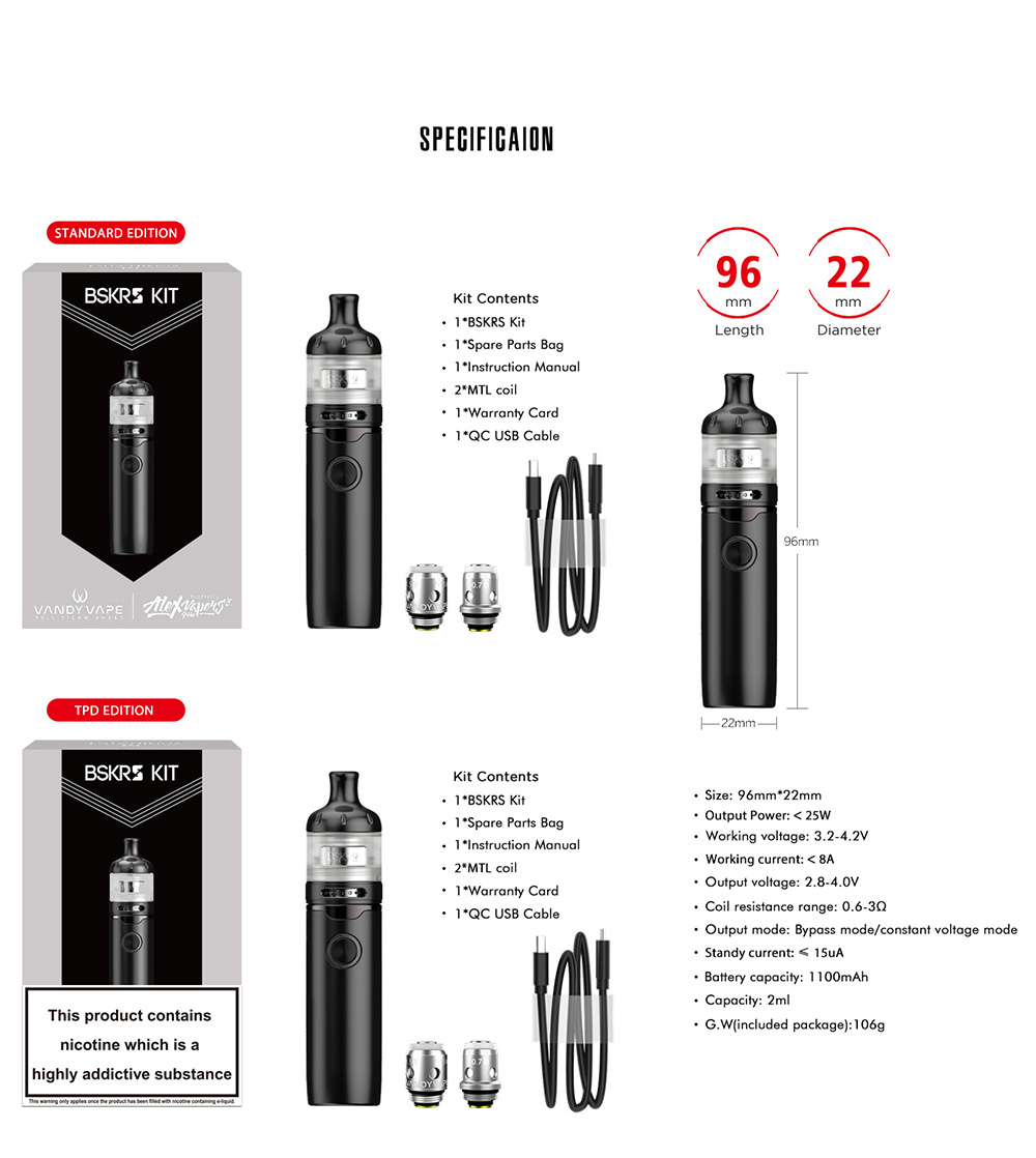Vandy Vape Berserker S Kit specification